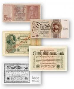 Das Bild zeigt Reichsmark-Geldscheine - Geld ist nur bedruckte Baumwolle und im Zweifel wertlos